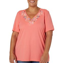 Coral Bay Plus Solid Floral Embellished Short Sleeve Top