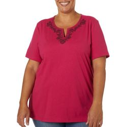 Coral Bay Plus Solid Shell Embellished Short Sleeve Top