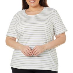 Coral Bay Plus Horizontal Stripe Round Neck Top