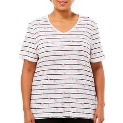 Coral Bay Plus Striped Flamingo Short Sleeve Top