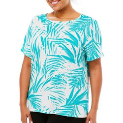 Coral Bay Plus Linear Palm Print Short Sleeve Top
