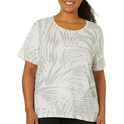 Coral Bay Plus Abstract Leaf Print Round Neck Top