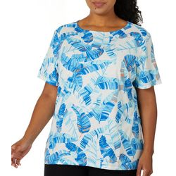 Coral Bay Plus Tropical Leaves Boat Neck Short Sleeve Top