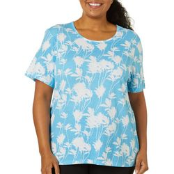 Coral Bay Plus Palm Breeze Short Sleeve Round Neck Top