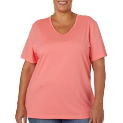 Coral Bay Plus Solid V-Neck Short Sleeve Top