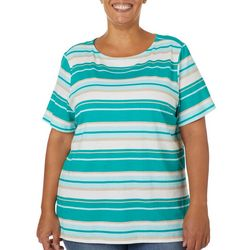 Coral Bay Plus Engine Stripe Boat Neck Top
