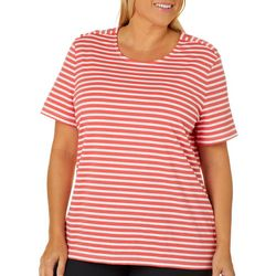 Coral Bay Plus Striped Button Shoulder Top