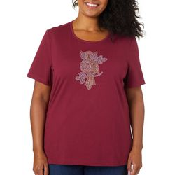 Coral Bay Plus Embellished Owl Short Sleeve Top