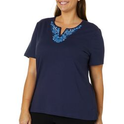 Coral Bay Plus Embroidered Floral Split Neck Top