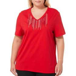 Coral Bay Plus Rhinestone & Embroidered V-Neck Top