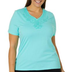 Coral Bay Plus Embroidered Scroll Top