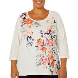 Coral Bay Plus Jeweled Floral Screen Print Top