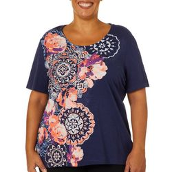 Coral Bay Plus Embellished Floral Screen Print Top