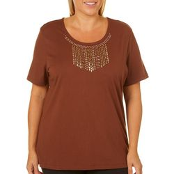 Coral Bay Plus Solid Embellished Bib Top