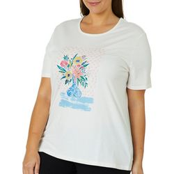 Coral Bay Plus Jewel Vase Screen Print Top