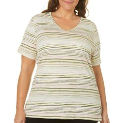 Coral Bay Plus Staycation Stripe Print V-Neck Top