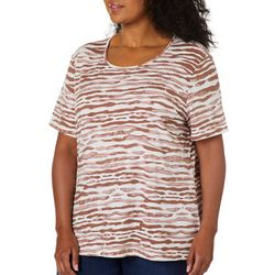 Coral Bay Plus Zebra Print Round Neck Short Sleeve Top