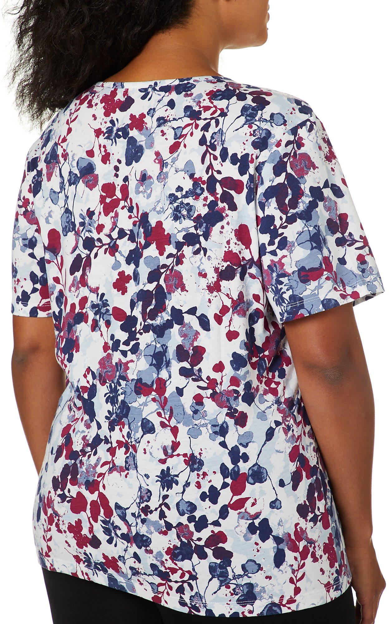 Coral Bay Plus Floral Print V-Neck Top
