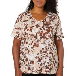 Coral Bay Plus Floral Print V-Neck Top