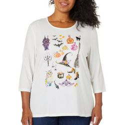Coral Bay Plus Embellished Witch Graphic Top