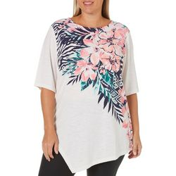 Coral Bay Plus Floral Print Asymmetrical Hem Top