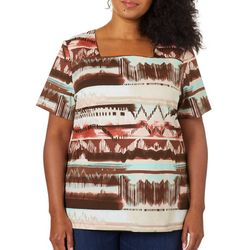 Coral Bay Plus Mixed Stripe Print Square Neck Top