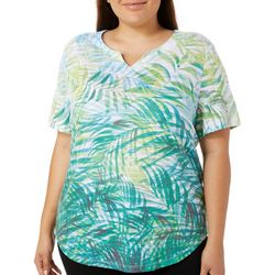 Coral Bay Plus Jungle Leaves Ombre Print Top