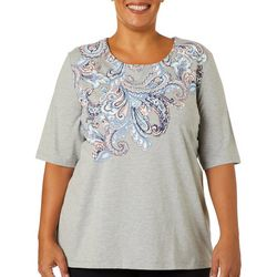 Coral Bay Plus Heathered Paisley Screen Print Top