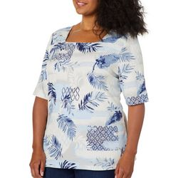 Coral Bay Plus Mixed Tropical Palm Print Square Neck Top