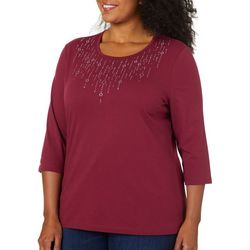 Coral Bay Plus Solid Drippy Bling Embellished Top