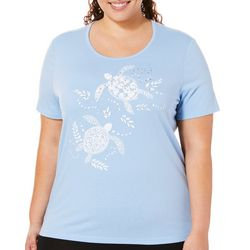 Coral Bay Plus Embellished Sea Turtles Top