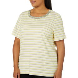 Coral Bay Plus Striped Embroidered Bib Top