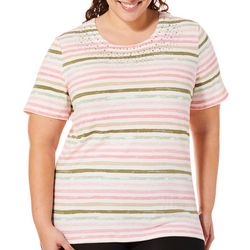 Coral Bay Plus Striped Jewel Neck Top