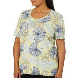 Coral Bay Plus Jeweled Tropical Fan Print Top