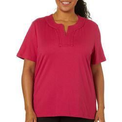 Coral Bay Plus Solid Embroidered Neckline Short Sleeve Top
