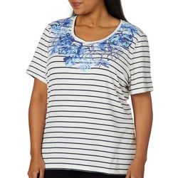 Coral Bay Plus Tropical Leaf Stripe Print Top