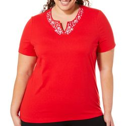 Coral Bay Plus Embroidered Starfish Notch Neck Top