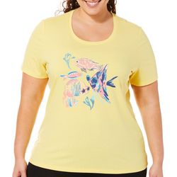 Coral Bay Plus Embellished Tropical Fish Short Sleeve Top