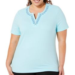 Coral Bay Plus Embroidered Floral Notch Neck Top