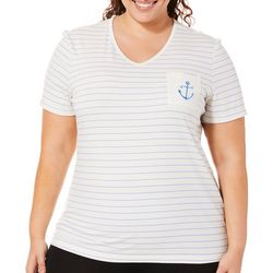 Coral Bay Plus Striped Embroidered Anchor Pocket Top