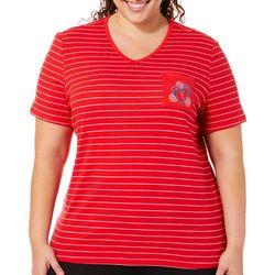 Coral Bay Plus Embroidered Flip Flop Striped Pocket Top