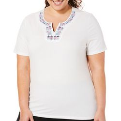 Coral Bay Plus Embroidered Fish Notch Neck Top