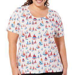 Coral Bay Plus Americana Sailboat Print Top