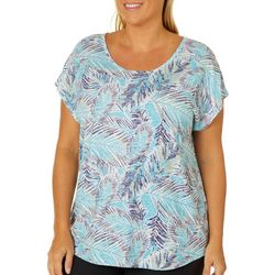 Coral Bay Plus Tropical Leaf Burnout Top