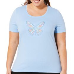 Coral Bay Plus Embroidered Butterfly Scoop Neck Top