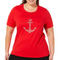 Coral Bay Plus Jeweled Anchor Top