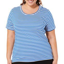 Coral Bay Plus Striped Embellished Scoop Neck Top