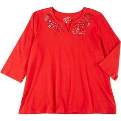 Coral Bay Plus Christmas Embroidered Split Neck Top