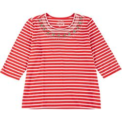 Coral Bay Plus Christmas Stripe Embroidered Top
