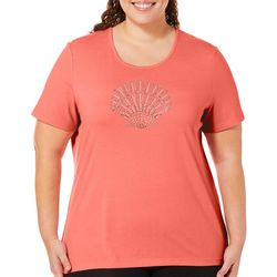 Coral Bay Plus Embellished Shell Short Sleeve Top